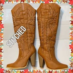 Shoes - COWGIRL STITCH KNEE HIGH BOOTS